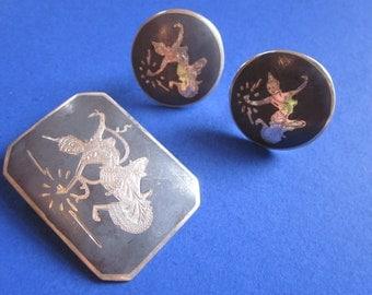 Goddess of Lightning - SIAM STERLING Brooch & Earrings