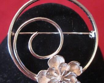 Vintage BEAU STERLING Flower Brooch