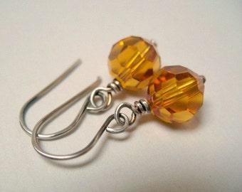 Crystal Earrings Sterling Silver Jewelry Golden Swarovski Drops