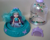 RESERVED FOR MARK Vintage Krystal Princess Butterflies Mini doll with water globe base, crown and comb, 1992 toy