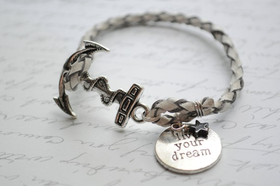 Anchor Bracelet- Live your Dream silver anchor and white braided rope with star charm