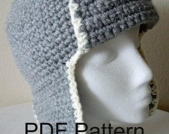 PDF Pattern Crochet Aviator Hat, Cap, Earflap Hat