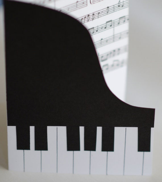 Piano Card, Music Card, Black and White, Handmade Keyboard Card