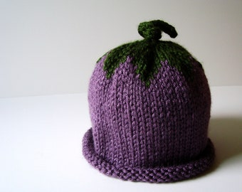 Grape/Eggplant Berry Knit Hat with Rolled Edge - Infant
