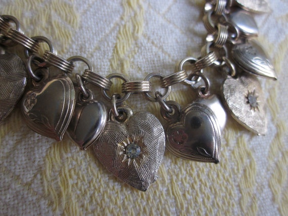 Vintage Puffy Gold Heart Charm Bracelet