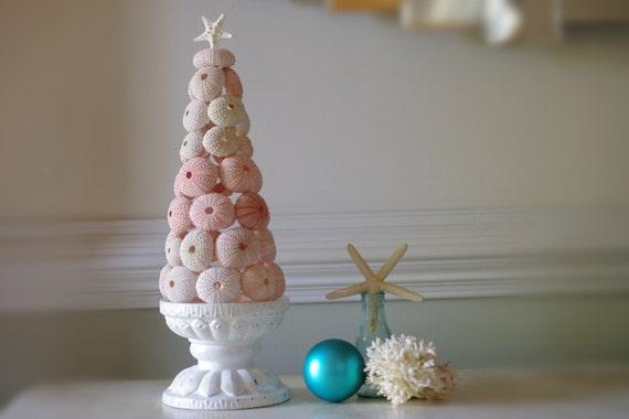 Sea Urchin Christmas Tree - 11 in tall - Candle Light Centerpiece - Beach Decor