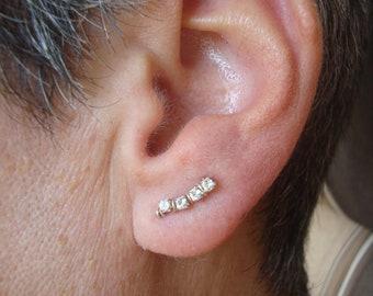Sterling Silver Swarovski Crystal Ear Art Pins 4 Stone