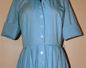 1950 Blue Shirtwaist Full Skirt Dress
