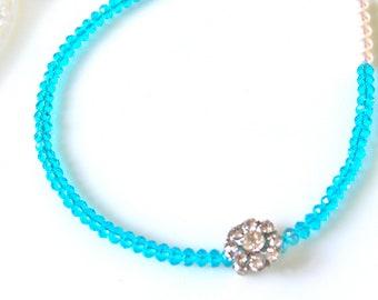 Swarovski Aqua Blue Vintage Brooch Glass Crystal Bead Swarovski Pearl Bead Necklace- Bridal, Bridesmaid, Wedding