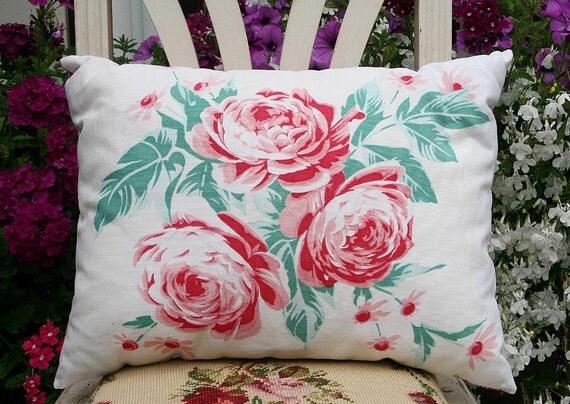 Vintage Linens Cottage Roses Pillow - TREASURY ITEM