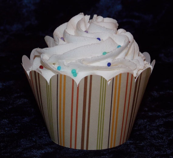 Striped Cupcake wrappers... 12 count ... orange brown green tan ...  Safari ... forest ... READY TO SHIP ...  Limited Supplies