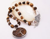Tigers Eye Necklace with Tree of Life Pendant, Freshwater Necklace, Gemstone Necklace, Wire Wrapped Necklace.