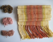 Handwoven Scarf in Yellow & Orange with cotton and eco friendly fibers - 'Mayan Sunrise'