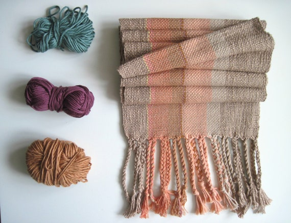 Coral and Driftwood Handwoven Scarf with Cotton, Pima Tencel, Silk and Linen