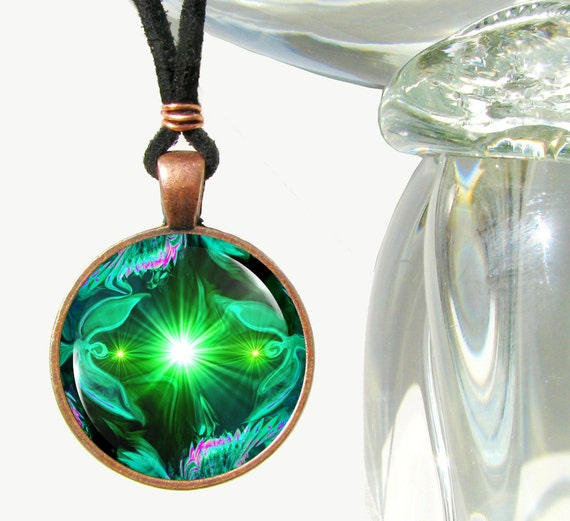 Green Necklace Angel Art Heart Chakra Pendant Reiki Jewelry