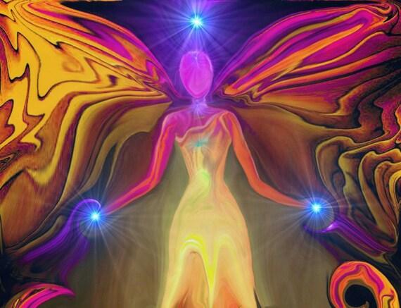 Angel Art Wall Decor Reiki Energy Art Chakra Healing Original Art Print 8 x 10