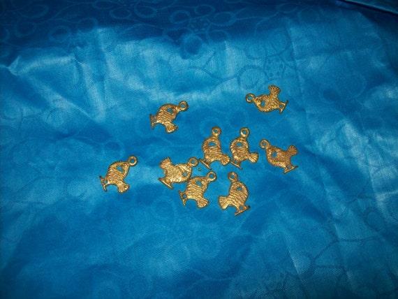 Sankofa Brass bead Charm from Ghana 9 charms