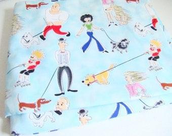 Michael Miller Walks of Life Fabric Dog Walkers Cartoon