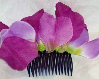 tropical purple floral thick hair comb