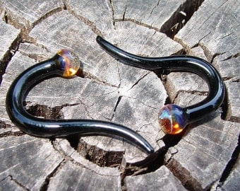 Black and Amber 6g gauged ear plugs earrings talons for stretched piercings Made To Order
