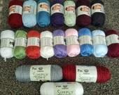 Bulk 100% Acrylic Yarn - 19 Skeins - Bernat Satin, Caron Simply Soft, Lion Vanna's Choice