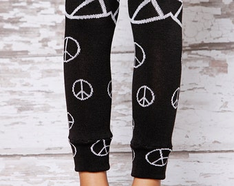 Leg Warmers - Peace Black and Silver