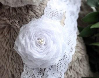 0 to 3m Newborn Flower Headband Lace White Headband Wedding Baby Headband Pearl Rose Baby Shower Gift Flower Girl Headband Costume Gift Cij