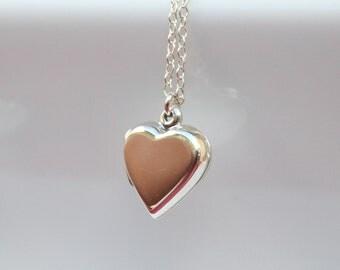 Heart Locket - sterling silver, keepsake necklace, locket necklace,  keepsake locket, bridesmaid, mother, wedding shower gift