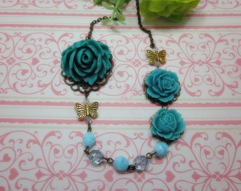 Turquoise Roses Necklace. Lovely Gift for her. Anniversary, Birthday, Bride, Maid of Honor.