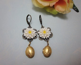 White chrissy with brass oval petite lockets Earrings. Flower Earrings. Gift for her.