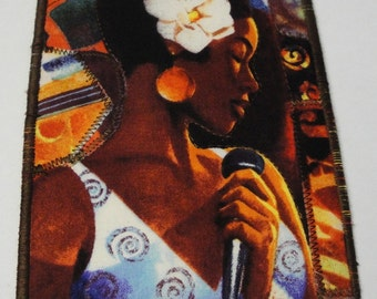 OOAK, Art Post Card, Blues music Fabric 4 x 6  Woman Jazz singer, Quilted, Appliqued, back is signed, microphone, one of a kind