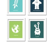 Nursery Prints. Space Invasion, set of 4, 5X7, Nursery decor, Boys room decor, Birthday Gift, Outer space, Aliens