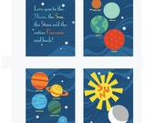 Planets Art Prints. Planets and Universe. Set of 4, 11X14, Nursery decor, Boy or Girl room decor, Birthday Gift, Planet Artwork