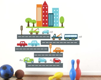 City Skyline Art, Car Decal for Kids, Rush Rush Traffic, SMALL, Nursery Wall decor, Wall stickers