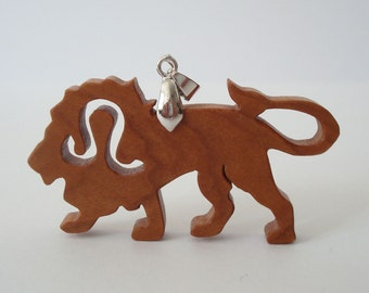 Leo the Lion Necklace Zodiac Cherry Hand Cut Pendant Scroll Saw