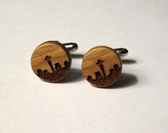 Seattle Cuff Links, Wood, Skyline