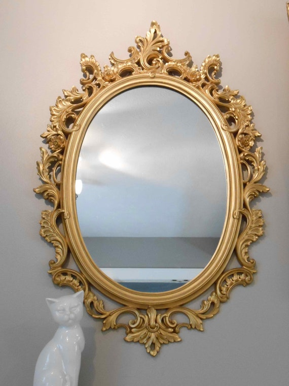 Framed Oval Mirror Ornate Gold