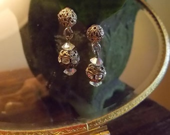 Vintage Rhinestone Ball Clip on Earrings
