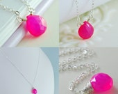 Mother Daughter Necklace Set Hot Pink Chalcedony Gemstone Sterling Silver Jewelry