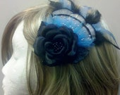 Black rose blue feather hair clip