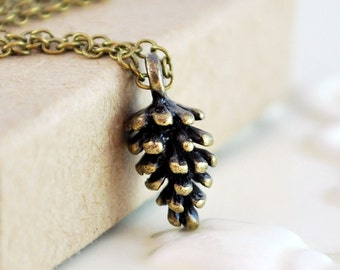 Antiqued Brass Pine Cone Necklace Woodland Wire Wrapped Fall Autumn Pinecone Stocking Stuffer Simple Jewelry Complimentary Shipping