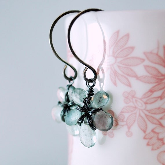 Moss Aquamarine Earrings Wire Wrapped Flower Oxidized Silver Jewelry Grey Jade French Earwires Floral Gemstone Complimentary Shipping