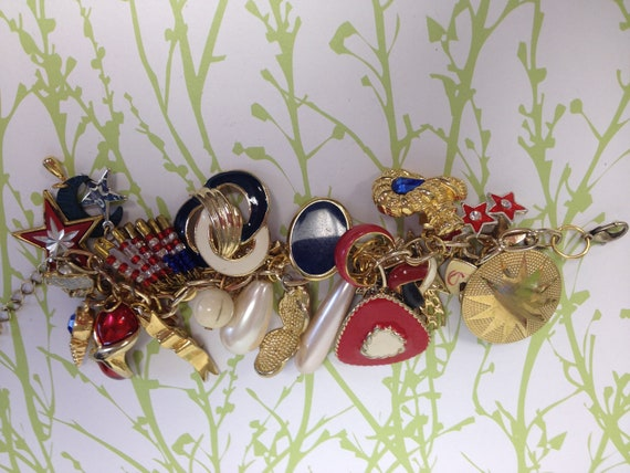 Fourth of July  Recycled /Upcycled Charm Bracelet