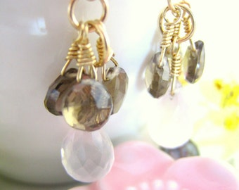 Smokey quartz and rose quartz gold drop earrings, blush pink chalcedony and brown drop earrings, pink and brown cluster chandelier earrings