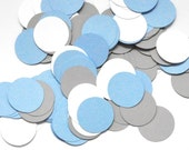 Confetti - Blue, Gray, White Party Decoration - Paper Confetti - Blue Wedding Decoration - Baby Shower Decor - Boy's Birthday Party Decor