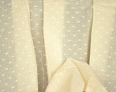 Unbleached Cotton Fabric . Undyed fabric. Cotton Curtain Fabric. Tiny Floral Medallions. 44 inches wide.