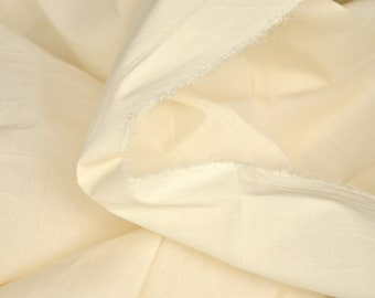 Cotton Lycra Fabric. Unbleached organic fabric. 61 inches wide. Voile