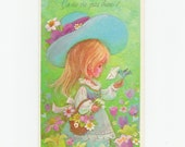 Sweet Vintage 70's French Greeting Card Get Well Card  - Little Boho Girl With Big Blue Hat & Bird and Flower Basket - Retro Country Card