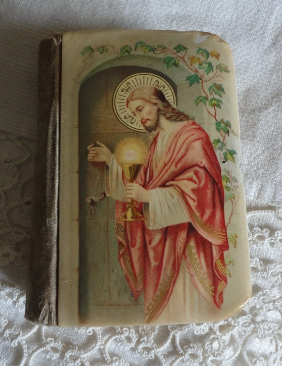 Antique Childs Prayer Book 1899 German Celluloid Cover For Repair or Ephemera Jesus at the Door 1st Communion Bride Gift