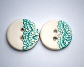 Blue Ceramic Buttons pair of vintage lace imprinted sew on buttons turquoise